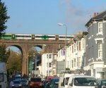 viaduct, train and traffic
